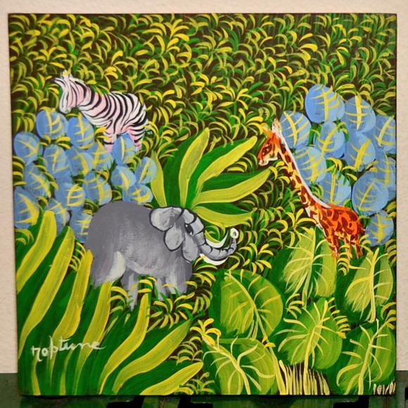 Haitian Painting Oil Board Jungle Elephant Art